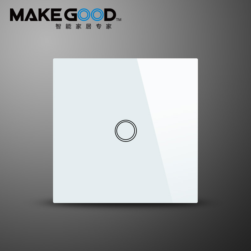 MakeGood TouchSwitch,1 gang 1way,White,Crystal Glass Switch Panel,Wall Light Touch Screen Switch,Led Touch-schalter,110-240 V,<br>
