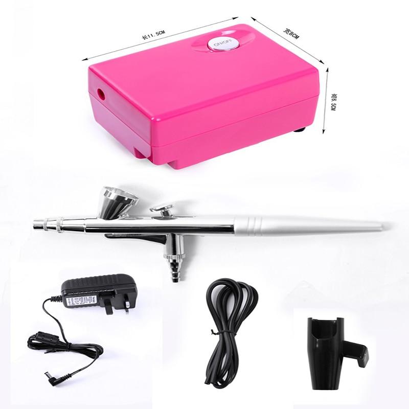 Air Brush Compressor Airbrush 0.4mm Needle Aerograph airbrush Nail Air Gun Kit for Face Make up Cake Tattoo Hobby Art SP16UKR3<br>