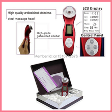 Digital LCD Screen Display Ultrasonic 3MHZ Ultra Sound High Frequency Ionic Facial Massager Roller For Wrinkle red