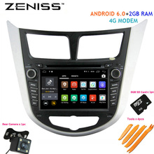 Free shipping Android6.0 2GB RAM Car DVD For Hyundai Solaris Accent Verna with 4M modem Car 2din DVD for Solaris Navigation