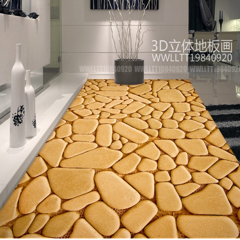 Free Shipping Pebble abstract pattern 3d flooring thickened waterproof non-slip flooring living room bathroom wallpaper mural<br><br>Aliexpress