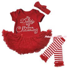 Daddy Prince Charm Valentine Red Bodysuit Girl Rose Baby Dress Leg Warmer NB-18M(Hong Kong)