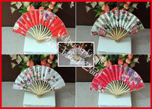 50pcs/lot free shipping high quality Japanese folding fan,silk hand fan holiday gift & wedding favor