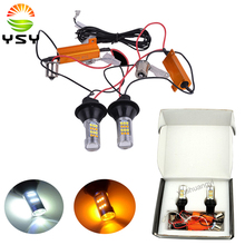 2Pcs White/Amber 42SMD 2835 Chipsets LED Bulbs Kit With 1156 BA15S Base For Auto Car Turn Signal Lights Daytime Running Light