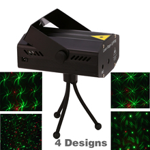 Free shipping ! 4 in 1 Mini Projector Red &Green DJ Disco Light Stage Xmas Party Laser Lighting Show With Tripod EU US plug(China)