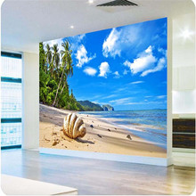 photo wallpaper High quality 3d painting Living room background beach clouds coconut shells Sea View large wall mural wallpaper