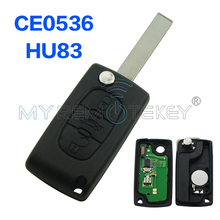 CE0536 models flip remote key 3 Button 434mhz HU83 for Citroen C3 C4 C5 key remtekey(China)