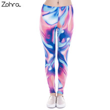 Zohra New Fashion Women Leggings Neon Blue Pink Printing Leggins Fitness Legging Sexy High Waist Woman Pants(China)