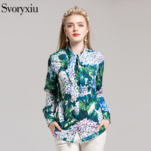 SVORYXIU High Quality Newest Shirt Fashion Women Long Sleeves Bow Flower Floral Print Casual Blouse(China)