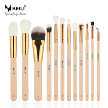 BEILI Pink 12 pieces Goat Hair Essential Premium Foundation Eye shadow Blush Powder Highlighter Concealer Makeup Brushes Set(China)