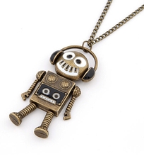 Punk Retro Kitsch Love Music Quirky DJ Dance Headset Robot Pendant Necklace Gift(China)