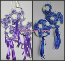 HOT SALE!!!  (8pcs/lot) X 20cm Artificial Foam Rose Ball Kissing Ball Foam  In Blue, Purple Wedding  *FREE SHIPPING VIA EMS*