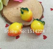 Free shipping!set 10pcs,Cute resin fruits charms.3D resin Yellow peach pendant for jewelry/phone/key chian decoration,DIY23*26mm