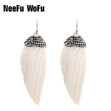 Drop Earrings Long Earring Shell Rhinestones Angel Wings Women's Vintage Natural Shell Pendants Dangle Earrings Jewelry