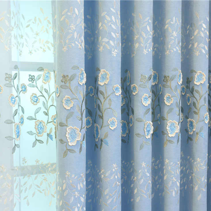 Slow Soul Pink Blue Curtain Embroidered Floral Cortina 3d Luxury Curtains Tulle Drapes Living Room For Custom Panels Sheer