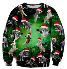 Cat santa Sweatshirt Women/Men Casual 3D Prink Hoodies Crewneck O-Neck Cat Kitty Christmas hat Outfits JUMPER