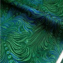 75cm*100cm Brocade fabric costume antique DIY blue green peacock tail clothing dress clothing cheongsam brocade cloth fabrics