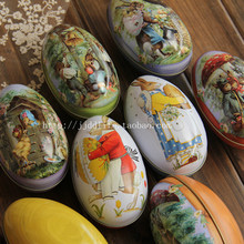 Free shipping/110x65x75mm big easter egg tin/Full set 8 easter eggs Large gift candy box tin storage box
