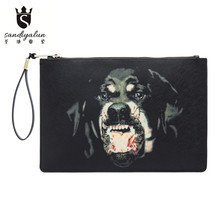 New Brand Women's Envelope Clutch Bag PVC Leather Men Crossbody Bags Dog Head Deer Handbag Messenger Bag Ladies Day Clutch