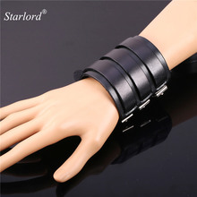 Starlord Genuine Leather Wrap Bracelet 72MM Big Jewelry Cool High Quality Bracelet Brand Women/Men Leather Wristband H1522