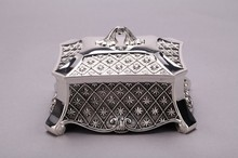 Silver blackening classic jewelry box trinket box with blue lining Wedding gifts