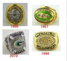 4pcs 1966 1967 1996 2010 Green Bay Packers SUPER BOWL CHAMPIONSHIP REPLICA RINGS together(China)