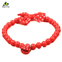 Pet Necklace Red Beads Strawberry Bell Bow Dog Necklace Not Fade Fashion Cute High Quality Environmental Protection Material(China)