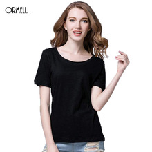 Buy ORMELL 2017 Womens Summer T Shirt Short Sleeve O-neck Casual Cotton Solid Color Tops Tees Female Ladies T-Shirt Women Clothing for $11.60 in AliExpress store
