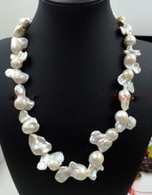 "18"" Rear Huge AAA South sea white baroque 15-35MM Pearl Necklace"