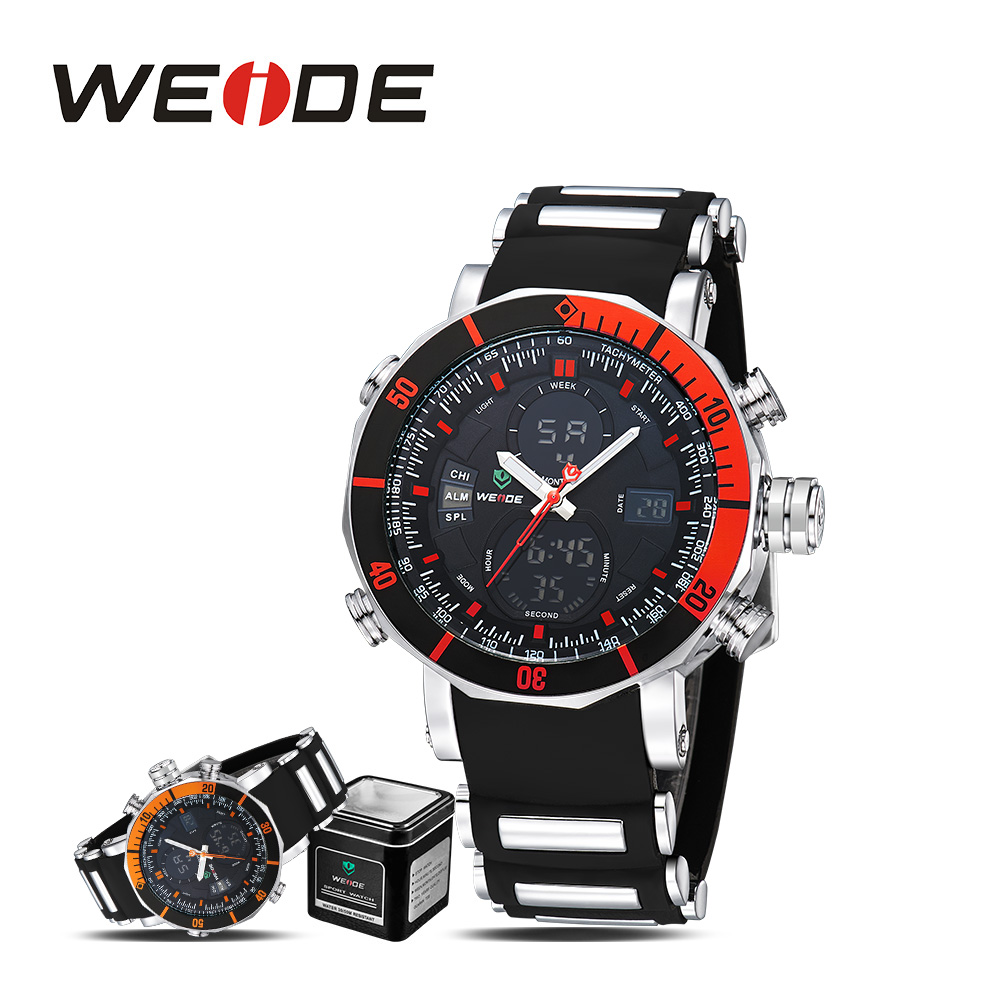 WEIDE men watches 2017 luxury brand watch sport in digital watches electronic wrist watch quartz men analog water resistant LCD<br>