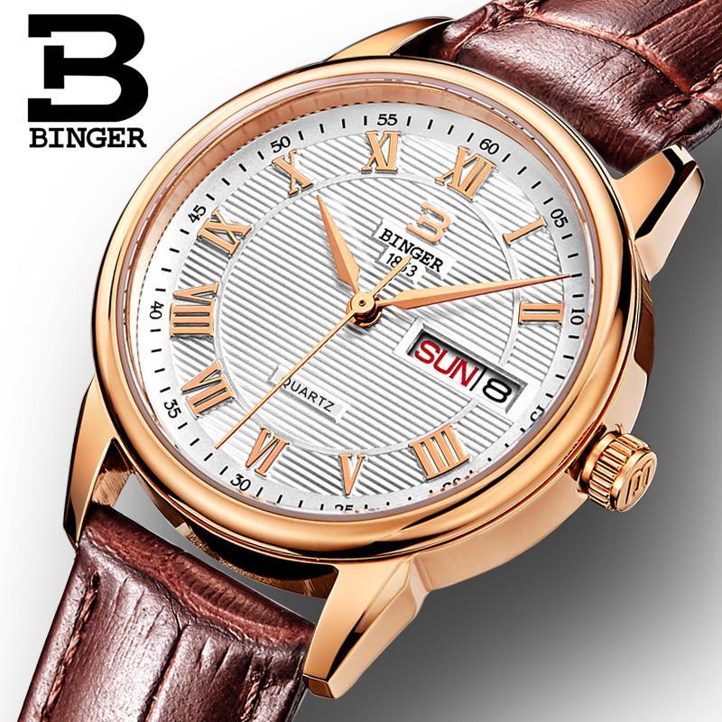 Switzerland Binger Womens watches fashion luxury watch ultrathin quartz Auto Date leather strap Wristwatches B3037G-12<br>