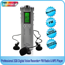 Free shipping! Professional 4GB Digital Voice Audio USB Recorder Dictaphone with MP3 Player Function + FM Radio(China)