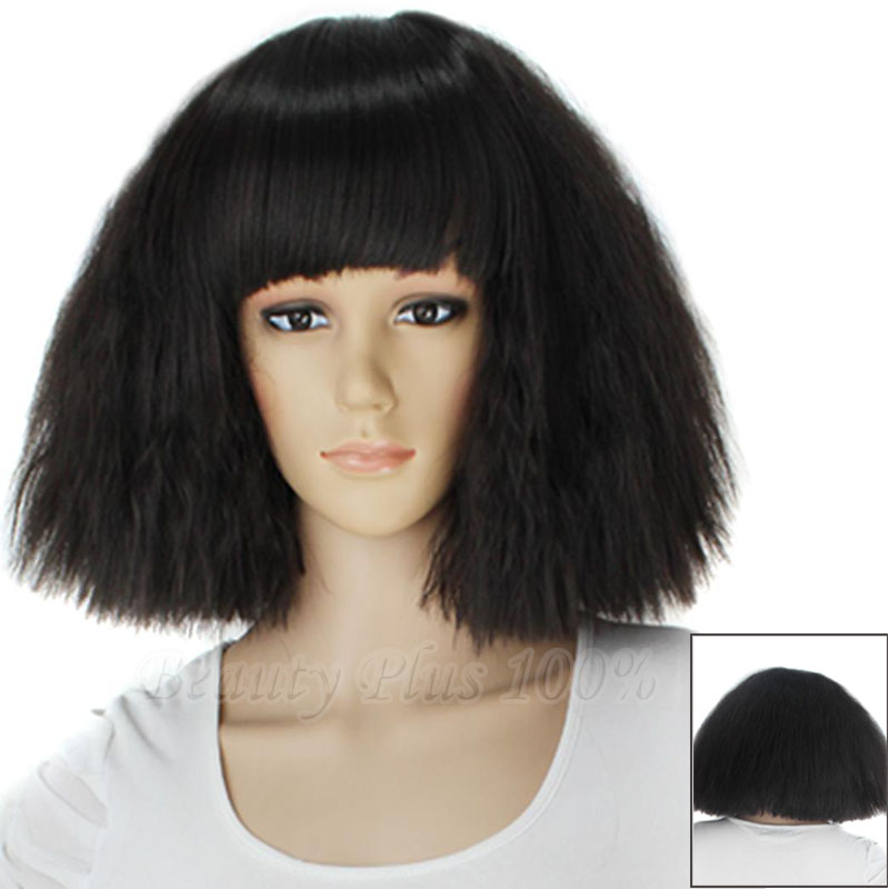 Short Kinky Straight Taro Lady Gaga wig 100% high temperature fiber women fashion party hair wig black and blonde color Wig Wigs<br><br>Aliexpress