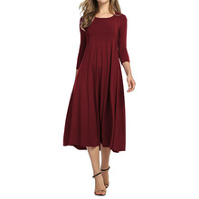 Buy Women Casual Pleated Dress Spring Three Quarter Sleeves Midi Dresses Party Vestidos O-Neck Work Wear Dress Plus Size S-5XL for $12.99 in AliExpress store