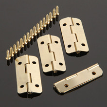 4Pcs 37mmx17mm Gold Furniture Hinges for Box Door Butt Decorative Small Hinge for Cabinet Drawer Furniture Hardware with Screws(China)