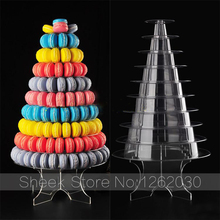 new style can free combination 10 layer clear acrylic Tower macaron Display stand or wedding party Dessert Display Free shipping(China)