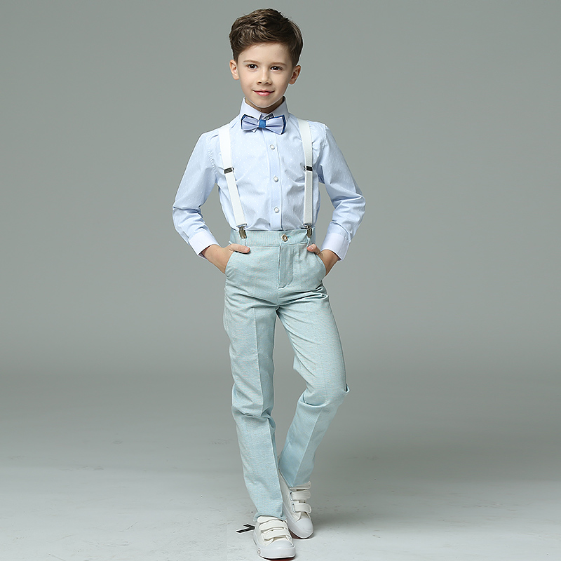 2017 New Childrens Day/Birthday Summer 4pcs/set Short Sleeve Shirts+Strap+Bow Tie+Pants Blue Formal Blazers Suits Sets<br>
