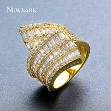 NEWBARK Unusual Ring For Women Gold Color Silver Color paved 4 Row AAA Cubic Zirconia Irregular Ring Fashion Jewelry(China)