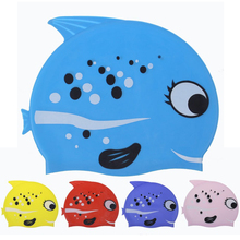 Cute Lovely Cartoon Fish Children Kids Swim Pool Sports Games Flexible Protect Ears Waterproof Silicone Swimming Cap Head Hat(China)