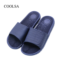 COOLSA Men's Brand Solid Slippers Indoor Home Non-slip Massage Slippers Couples Bathroom Beach Slippers Zapatillas De Masaje Hot(China)