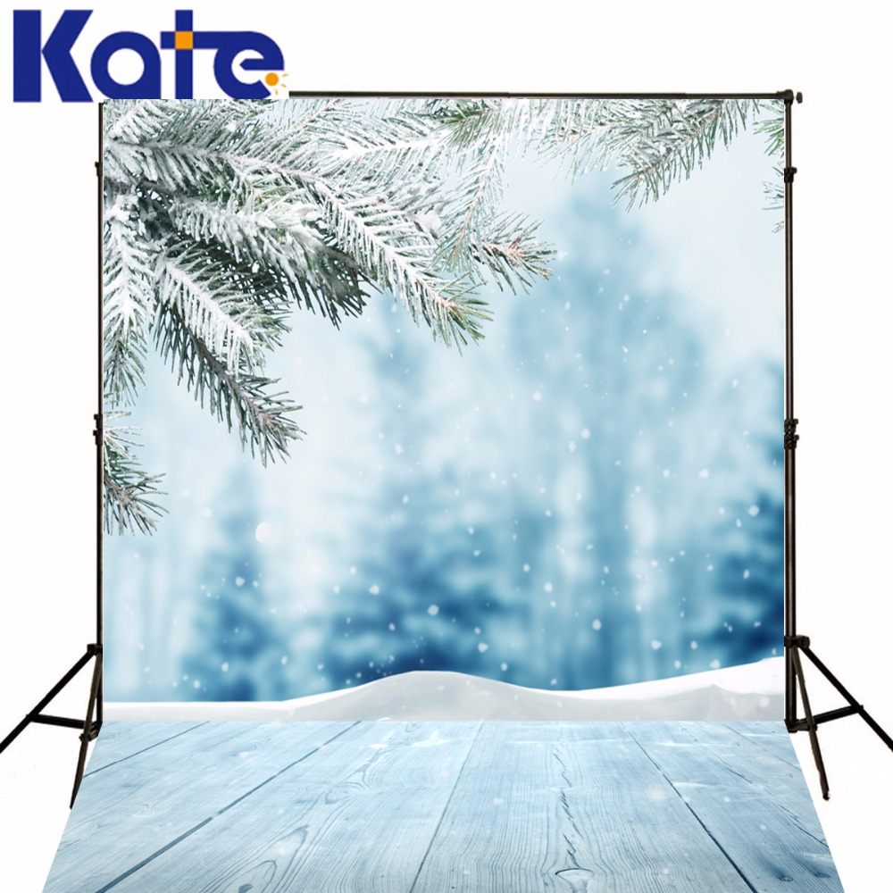 Kate Backdrop Frozen Snow Backgrounds For Photo Studio Winter Christmas Backdrop Photography Wood Floor Background<br>
