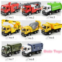 Free Shipping 1:50 die-cast pull back engineering car fire rescue truck model with sound and light children gift