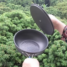 BULIN Outdoor Camping Pan Portable Tableware Non-stick Pan Foldable Handle Anodised Aluminum Cookware Cooker