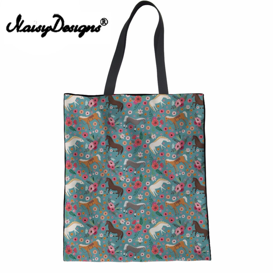 Funny-Horse-Flower-Clydesdale-Print-Women-Linen-Tote-Bags-Fashion-Ladies-Travel-Top-handle-Bags