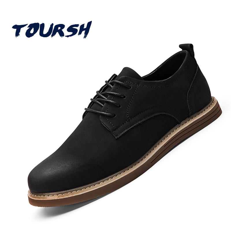 TOURSH 2018 Hot Sale Men Oxfords Shoes Cow Suede Leather Casual Shoes Black Breathable Lace-Up Men Falt Shoes Sapato Masculino<br>