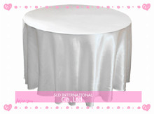 10pcs  Satin Cheap White Wedding Table Cloths Round Wedding Tablecloth 108'' Round Shape Free Shipping