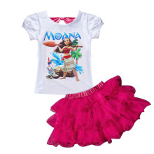 Faster shipping! MOANA Baby Girl Clothes Summer Casual Sets Children's Cotton T-shirt+Dress 2 PCS Suits Birthday Kids Clothing