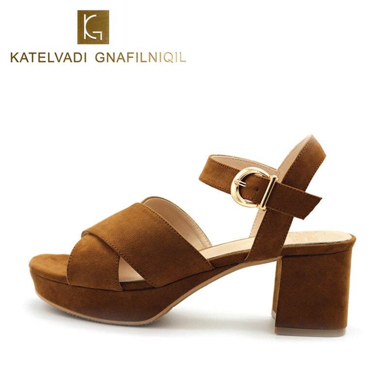 Summer Sandals Women Medium Heel Shoes 6CM Heels Platform Sandals Women Fashion Peep Toe Ladies Shoes Leather Sandals B-0170<br>
