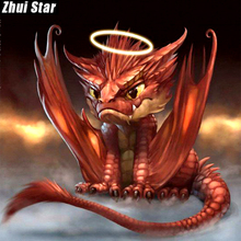 "Zhui Star Full Square Drill 5D DIY Diamond Painting ""Animal dragon"" 3D Embroidery Cross Stitch Mosaic Set Home Decor Gift VIP(China)"