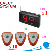 1 display monitor 10 transmitters Customer press button call counter system(China)